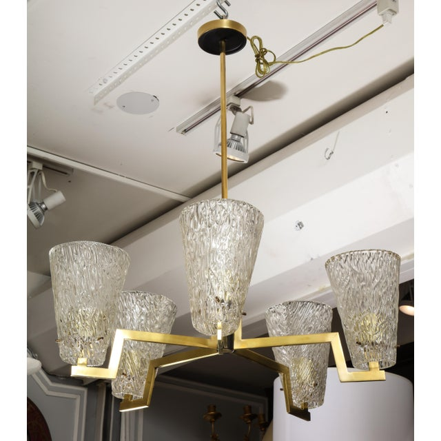 Contemporary Sculptural Brass and Glass Six-Arm Hanging Light Fixture For Sale - Image 3 of 9