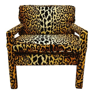 Mid-Century Leopard Baughman Style Parsons Chair