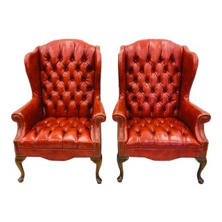 Pair Tufted Button Wingback Arm Chairs For Sale