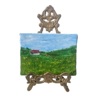 Original Acrylic Farmhouse Painting With Ornate Brass Easel For Sale