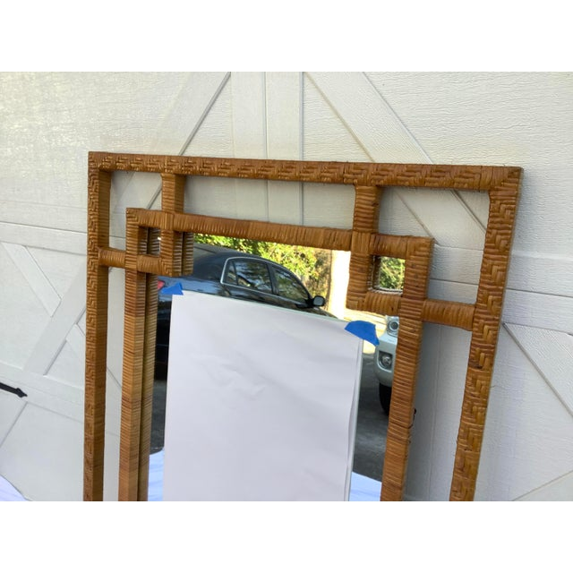 """Large rattan mirror from the 70s. ( mirror dated 1978.) Great style and very """"in""""."""