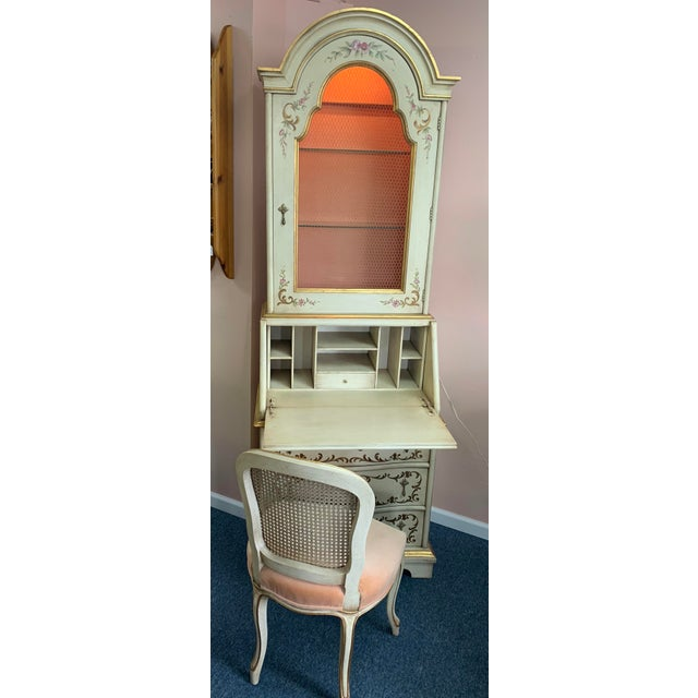 Hand Painted John Widdicomb Custom secretary with matching French Provincial Chair. This secretary desk was custom ordered...