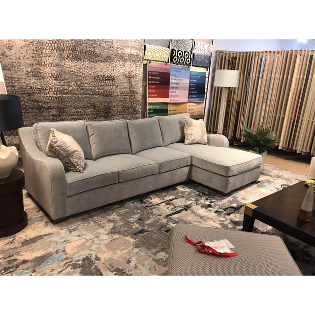 Transitional Swaim Factory Transitional 2-Pc Sectional with Pillows For Sale - Image 3 of 12