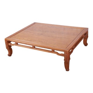 Michael Taylor for Baker Hollywood Regency Chinoiserie Elm Wood Large Coffee Table For Sale
