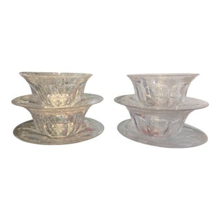 Antique Hawkes Crystal Art Deco Bowls & Plates - Set of 4 For Sale