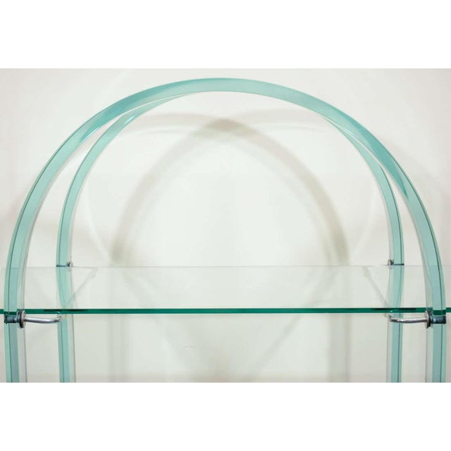 French FRENCH MODERNIST GLASS AND MIRROR SERVING CART For Sale - Image 3 of 6