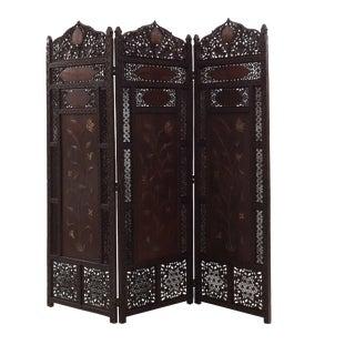 Moorish Carved Teak 3-Fold Screen For Sale