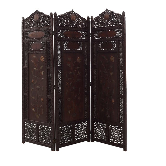 Moorish Carved Teak 3-Fold Screen For Sale