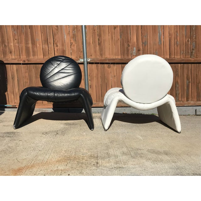 Italian Black and White Vintage Leather Italian Lounge Chairs - a Pair For Sale - Image 3 of 12