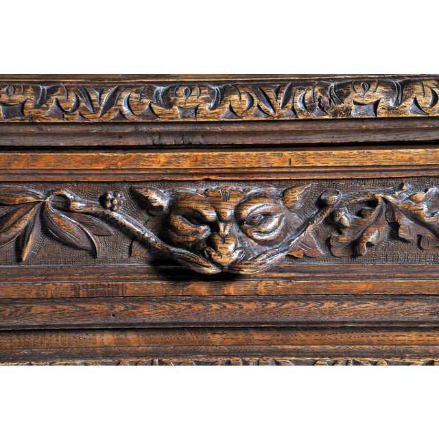 "French ""Black Forest"" Style Hunting Oak Buffet Cabinet For Sale - Image 10 of 11"