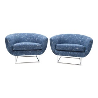 1930s Vintage Milo Baughman Blue Upholstery in Donghia Chairs - A Pair For Sale
