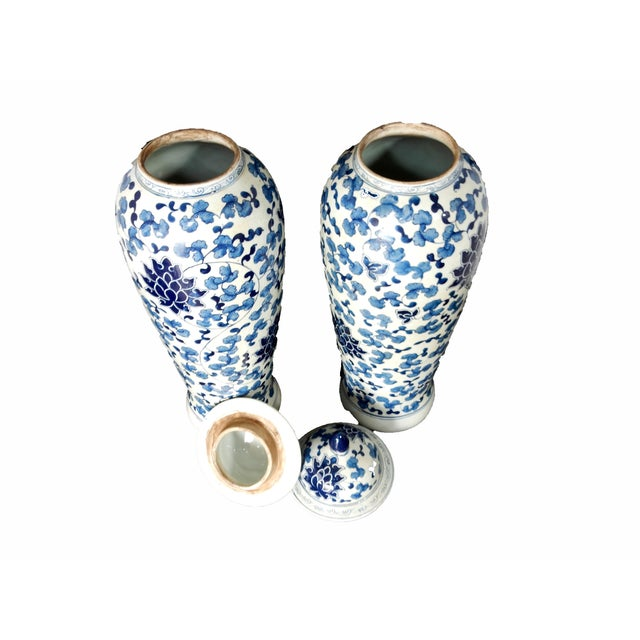 Blue & White Porcelain Jars - A Pair - Image 3 of 5