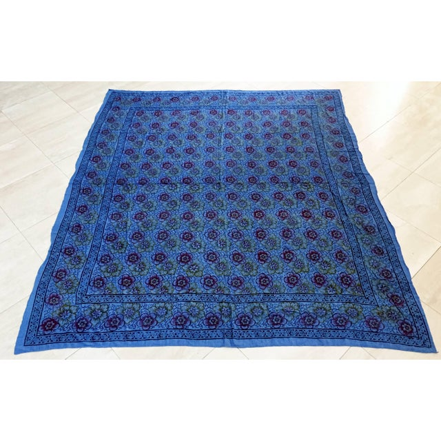 Kalamari Blue Textile From India For Sale - Image 9 of 9
