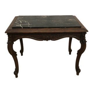 1900s Black Forest Marble Topped Carved Star Table For Sale