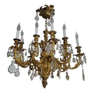 Moving. Offers Welcome. Antique Italian Solid Bronze Chandelier With Illustrious Provenance For Sale