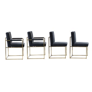 Milo Baughman Bronze and Velvet Dining Chairs - Set of 4 For Sale