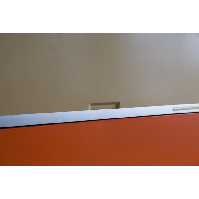 Vintage Orange & Yellow Steel Tab Office Cabinets For Sale - Image 5 of 7