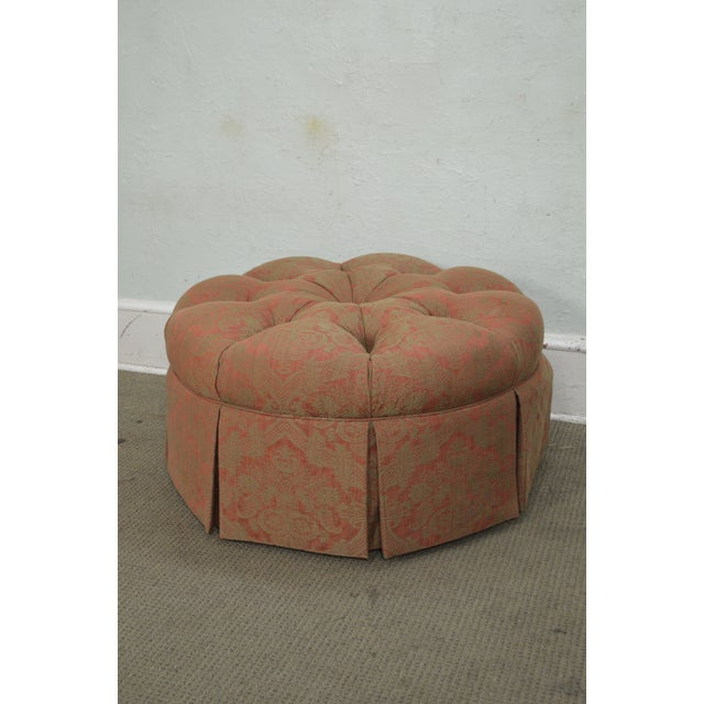 Custom Upholstered Round Tufted Ottoman For Sale - Image 10 of 11