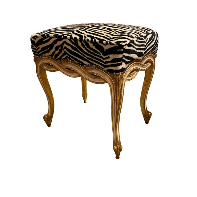 Regency Style Taboret Benches With Zebra Velvet - a Pair For Sale - Image 4 of 5