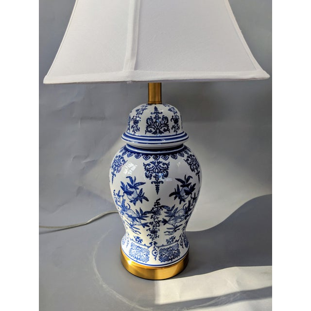 Ceramic Blue and White Ceramic Lamp For Sale - Image 7 of 13