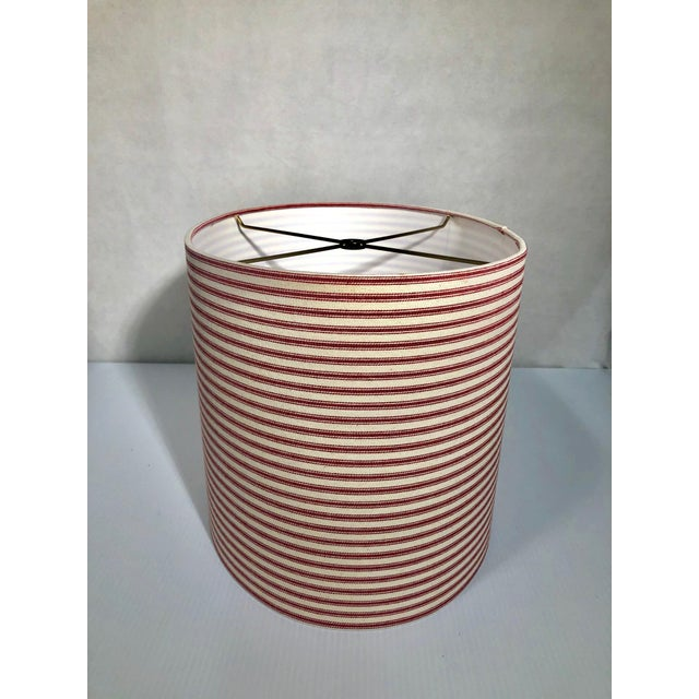 Mid-Century Modern Heath & Co Custom Red and White Lamp Shade For Sale - Image 3 of 7