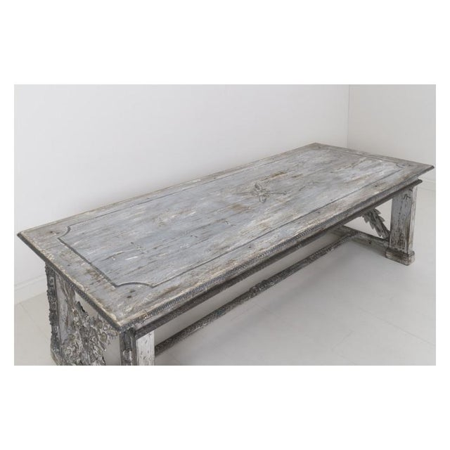 Paint 19th Century Large Tuscan Richly Carved Trestle Table For Sale - Image 7 of 11