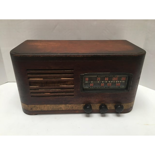 1940s Vintage Watterson Mid-Century Wood Radio/Short Wave For Sale - Image 10 of 10