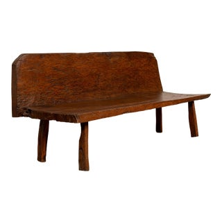 Rustic Vintage Indonesian Natural Tree Bench Found in Riverbed with Back For Sale