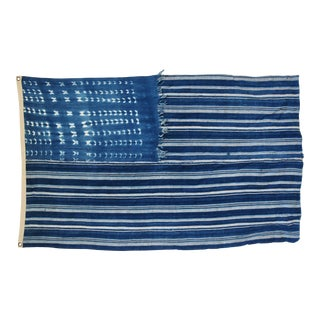 "Boho Chic Indigo Blue & White Flag From African Textiles 60"" X 36"" For Sale"