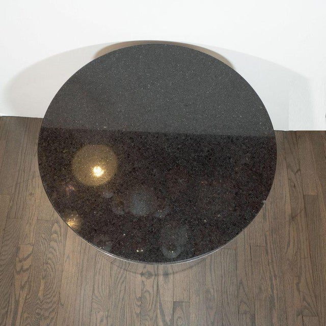 1970s Mid-Century Modern Cylindrical Drum Form Chrome and Granite Occasional Table For Sale - Image 5 of 9