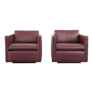 Late 20th Century Leather Club Chairs- A Pair For Sale