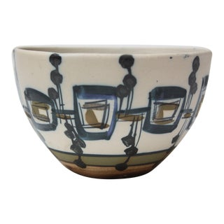 Vintage Israeli Hand-Painted Ceramic Bowl by Azaz (עזז) for Harsa Be'er Sheva For Sale