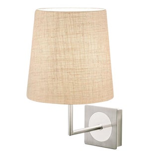 Brushed Nickel and Polished Chrome Wall Light With Shade For Sale