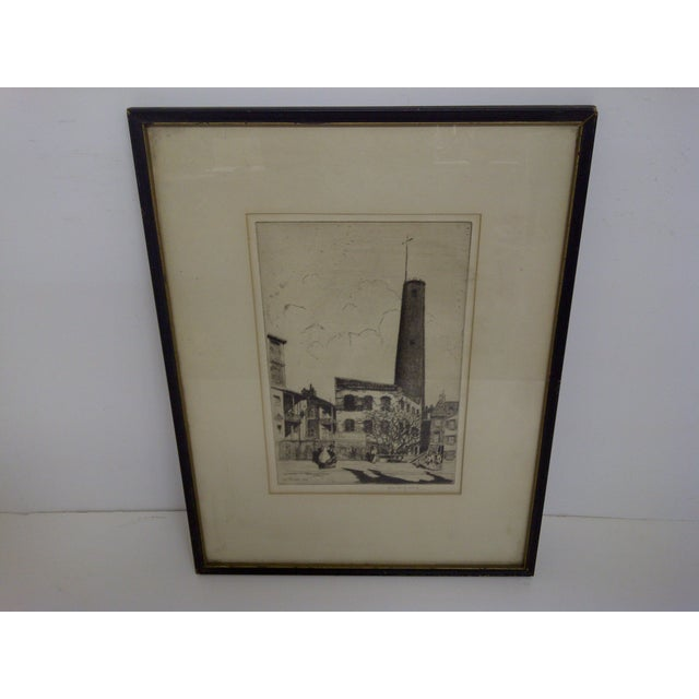 """""""BALTIMORE"""" -- By John McGrath -- Circa 1930 """"For Sale Or Rent"""" Framed / Double Matted / Glass Front The Drawing Is In..."""