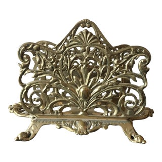 Vintage Ornate Brass Double Letter Holder