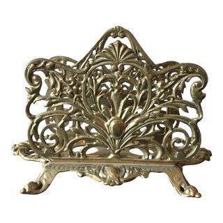 Vintage Ornate Brass Double Letter Holder For Sale