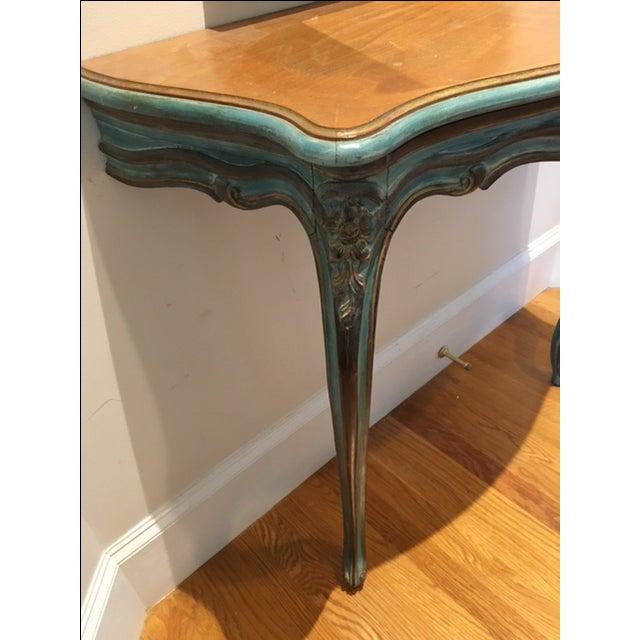 Antique Aqua-Painted Mirror & Console - Image 5 of 5