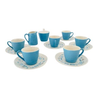 Midcentury Atomic Design Blue Heaven 15 Pieces Tea Set