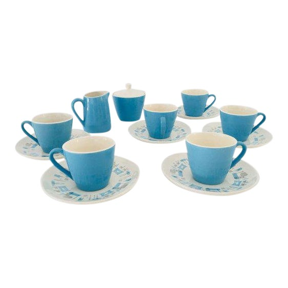 Midcentury Atomic Design Blue Heaven 15 Pieces Tea Set For Sale