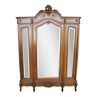 Antique French Louis XV Carved Walnut & Mirrored 3 Door Wardrobe Armoire For Sale