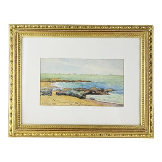 1920s French Seascape Watercolor Painting by Meyet, Framed For Sale