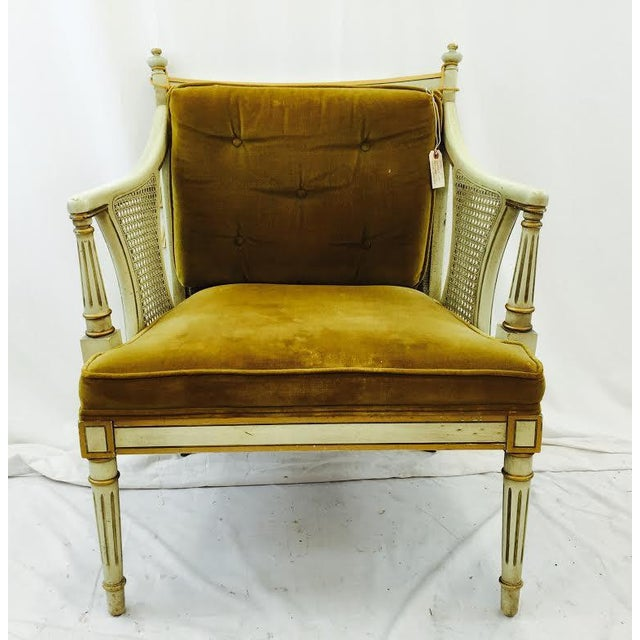French-Style Gold Velvet & Cane Armchair - Image 8 of 11