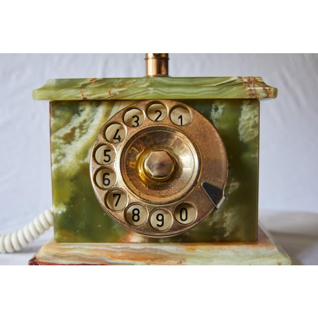 Metal Vintage Italian Green Onyx and Gilded Bronze Telephone For Sale - Image 7 of 13