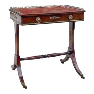 Fine 1815 Regency Mahogany and Bronze Mounted Writing Table For Sale