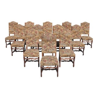 1900s Vintage French Louis XIII Style Os De Mouton Dining Chairs- Set of 12 For Sale