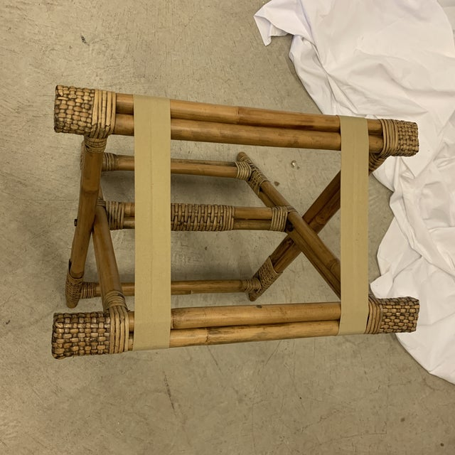 Brown Vintage Burnt Bamboo Luggage Rack Tray Stand For Sale - Image 8 of 9