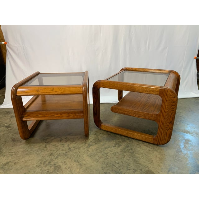 Mid-Century Modern 1970s Mid-Century Modern Lou Hodges Oak and Smoked Glass End Tables -- Set of 2 For Sale - Image 3 of 12