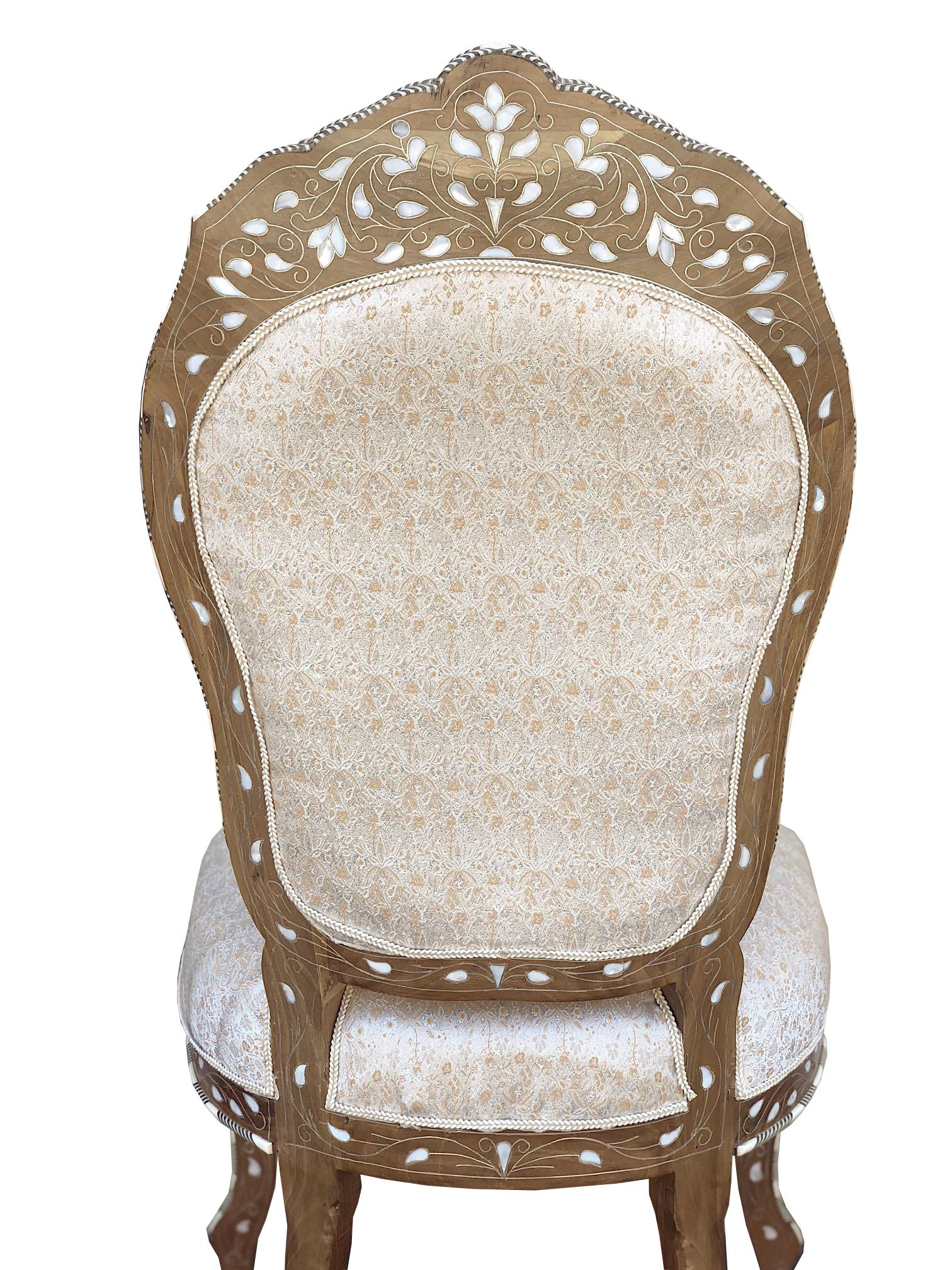 Moroccan/Syrian Mother Of Pearl Inlaid Chair   Image 4 Of 6