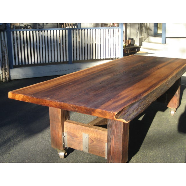 2010s Hand Crafted Live Edge Red Cedar Slab Table For Sale - Image 5 of 10