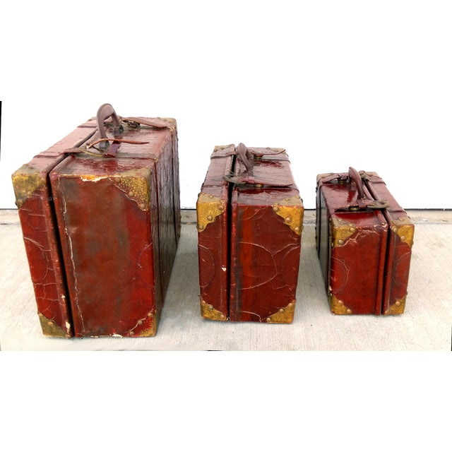 Weathered Ox Blood Nesting Trunks - Set of 3 - Image 5 of 11